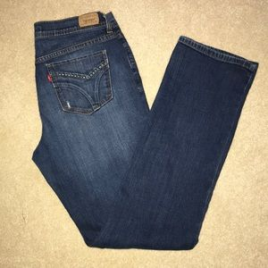 LEVI'S HIGH RISE 505 STRAIGHT LEG BLUE MOM JEANS